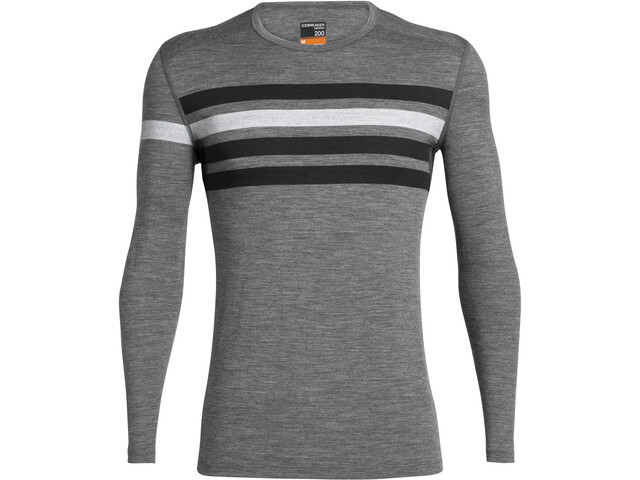 Icebreaker 200 Oasis Heritage Stripe T-shirt manches longues à col ras-du-cou Homme, gritstone heather